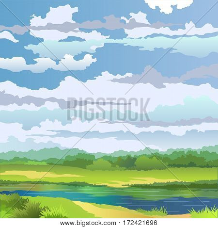 Summer landscape with river and meadow on background cloudy sky. Vector illustration.