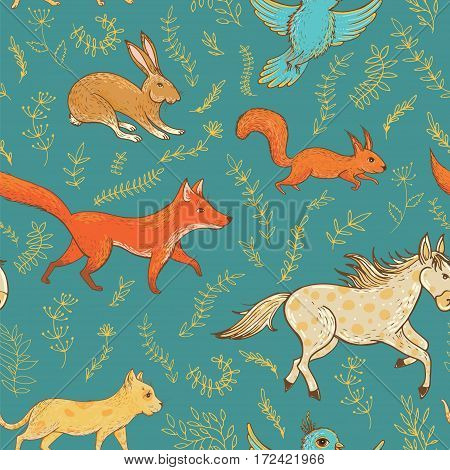 Vector seamless pattern with cute animals: fox rabbit horse pony cat squirrel bird and plants. Natural vernal backdrop. Template for graphic design textile and postcards