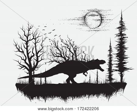 dinosaur t-rex in strange forest.Silhouette design.Vector illustration