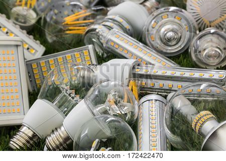 big family of ecological and economical LED bulbs of E27 R7s and G4 types on the green grass