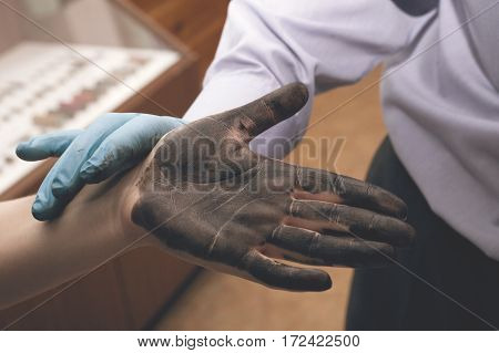 Expert Takes Fingerprints. Investigation Of The Crime.