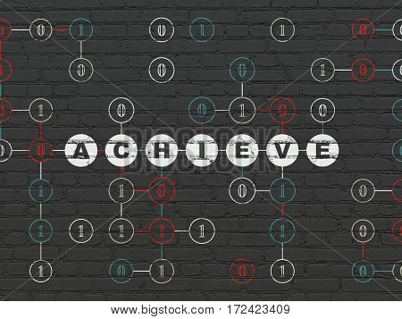 Business concept: Painted white text Achieve on Black Brick wall background with Binary Code