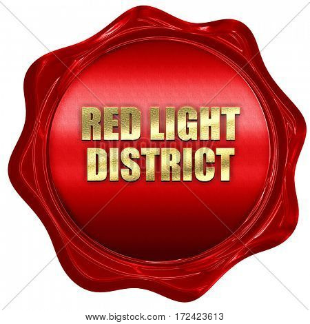 red light district, 3D rendering, red wax stamp with text