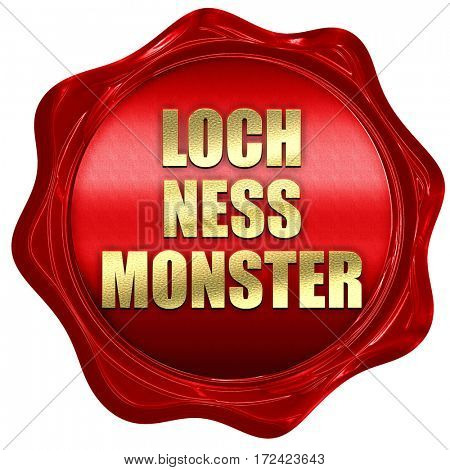 loch ness monster, 3D rendering, red wax stamp with text