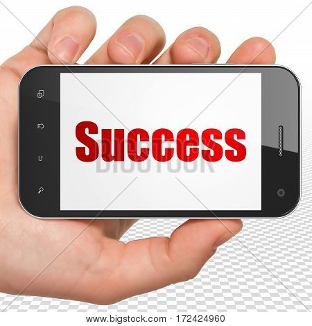 Finance concept: Hand Holding Smartphone with red text Success on display, 3D rendering