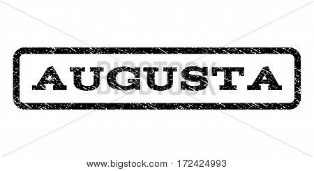 Augusta watermark stamp. Text tag inside rounded rectangle with grunge design style. Rubber seal stamp with dust texture. Vector black ink imprint on a white background.
