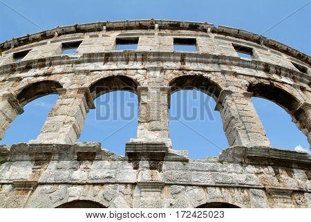 The ruins of Roman amphitheatre at Pula on Croatia