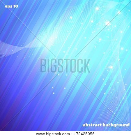 Abstract vector background. Cold glow stars and waves.