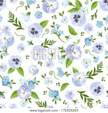 Vector seamless pattern with blue pansy and forget-me-not flowers and green leaves on a white background.