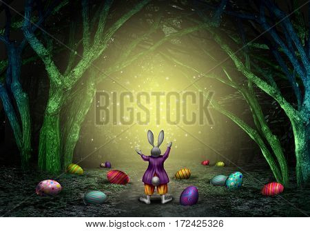 Easter magic bunny rabbit with decorated eggs and sparkles in an enchanted magical forest as a spring holiday symbol with 3D illustration elements.