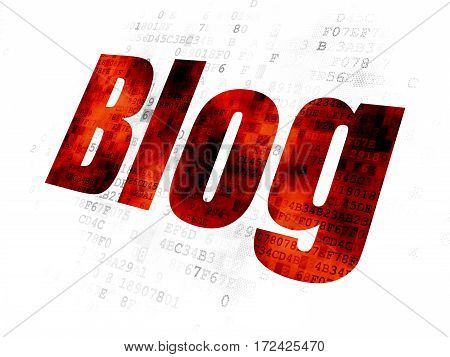 Web development concept: Pixelated red text Blog on Digital background