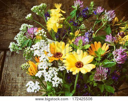 Bouquet Of Healing Herbs - Mint, Yarrow, Lavender, Clover, Hyssop, Calendula, Milfoil, Herbal Medici