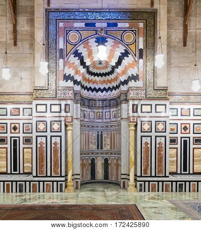 Cairo, Egypt - February 18 2017: Mihrab at the tomb of the Reza Shah of Iran, Al Rifaii Mosque (Royal Mosque), located in front the Cairo Citadel, constructed between 1869 and 1912