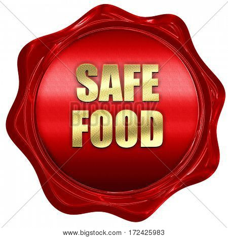safe food, 3D rendering, red wax stamp with text