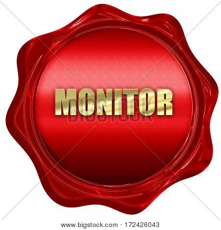 monitor, 3D rendering, red wax stamp with text