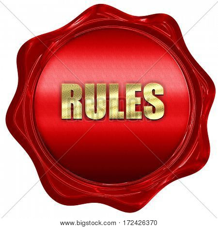 rules, 3D rendering, red wax stamp with text