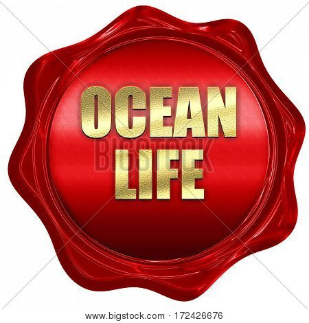 ocean life, 3D rendering, red wax stamp with text