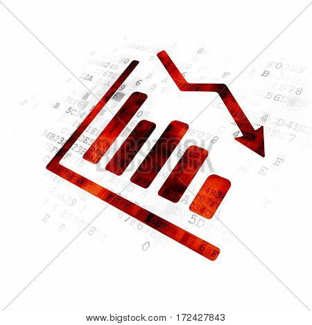 Advertising concept: Pixelated red Decline Graph icon on Digital background