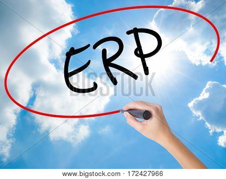 Woman Hand Writing  Erp (enterprise Resource Planning)   With Black Marker On Visual Screen