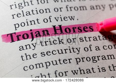 Fake Dictionary Dictionary definition of the word trojan horses. including key descriptive words.