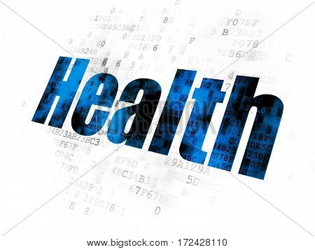 Medicine concept: Pixelated blue text Health on Digital background
