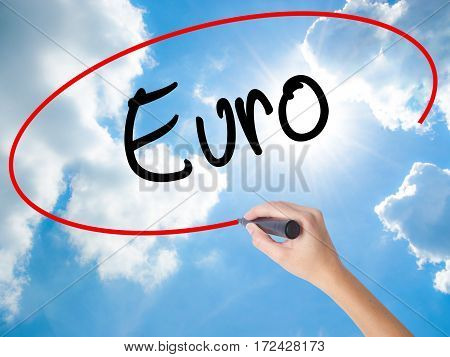 Woman Hand Writing Euro With Black Marker On Visual Screen