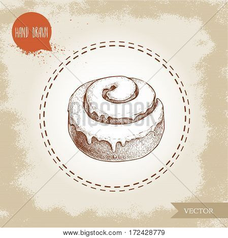 Hand drawn sketch style bakery goods illustration. Fresh iced cinnamon bun. Daily product. Fresh-baked breakfast