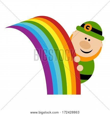 Funny cartoon leprechaun peeks out from the rainbow