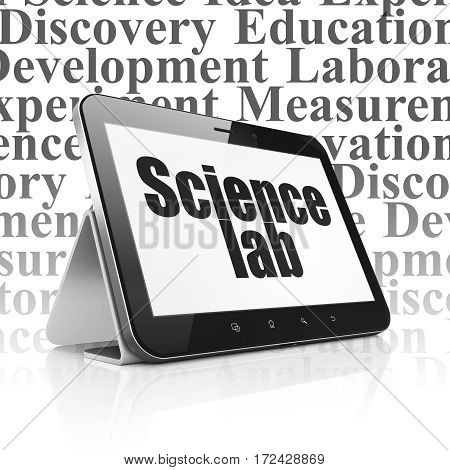 Science concept: Tablet Computer with  black text Science Lab on display,  Tag Cloud background, 3D rendering