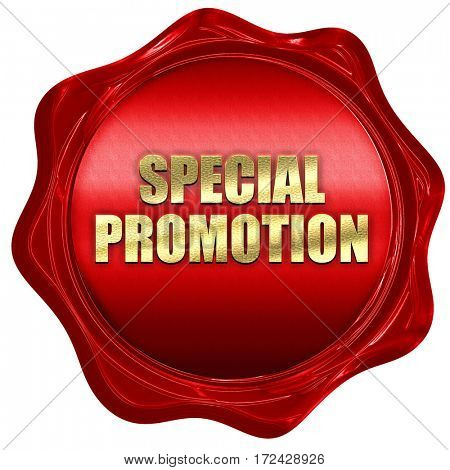special promotion, 3D rendering, red wax stamp with text