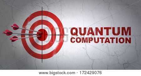 Success Science concept: arrows hitting the center of target, Red Quantum Computation on wall background, 3D rendering