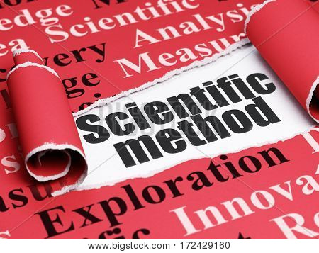 Science concept: black text Scientific Method under the curled piece of Red torn paper with  Tag Cloud, 3D rendering
