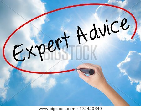 Woman Hand Writing Expert Advice With Black Marker On Visual Screen