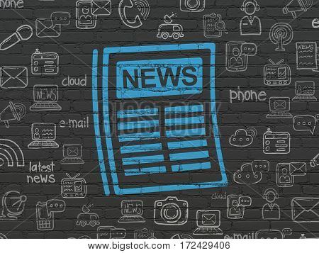 News concept: Painted blue Newspaper icon on Black Brick wall background with  Hand Drawn News Icons