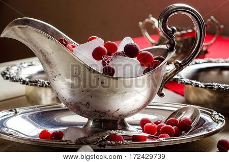 Beautiful Silver Bowl With Ice And Red Berries. Vintage.