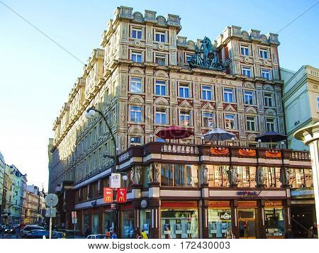 Attractions Of City Prague. Statues And Monuments. Historical Buildings