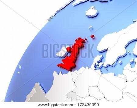 United Kingdom On Modern Shiny Globe