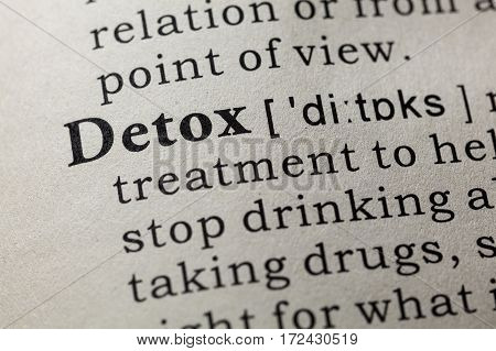 Fake Dictionary Dictionary definition of the word detox. including key descriptive words.