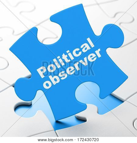 Politics concept: Political Observer on Blue puzzle pieces background, 3D rendering