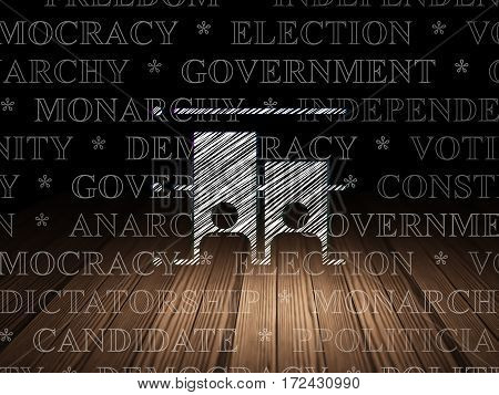 Politics concept: Glowing Election icon in grunge dark room with Wooden Floor, black background with  Tag Cloud