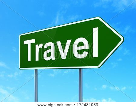 Holiday concept: Travel on green road highway sign, clear blue sky background, 3D rendering