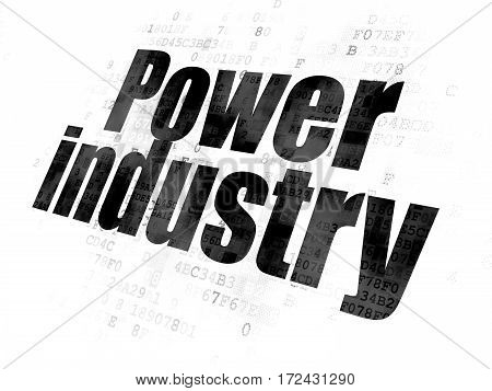 Industry concept: Pixelated black text Power Industry on Digital background
