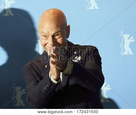 BERLIN, GERMANY - FEBRUARY 17: Patrick Stewart attends the 'Logan' (Masaryk) photo call during the 67th Berlinale Film Festival Berlin at Grand Hyatt Hotel on February 17, 2017 in Berlin, Germany.