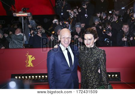 BERLIN, GERMANY - FEBRUARY 17: Patrick Stewart and Sunny Ozell attend the 'Logan' premiere during the 67th Berlinale Film Festival Berlin at Berlinale Palace on February 17, 2017 in Berlin, Germany.