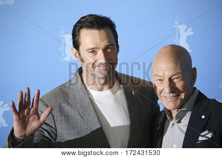 BERLIN, GERMANY - FEBRUARY 17:  Hugh Jackman and Patrick Stewart attend the 'Logan' (Masaryk) photo call during the 67th Festival Berlin at Grand Hyatt Hotel on February 17, 2017 in Berlin, Germany.