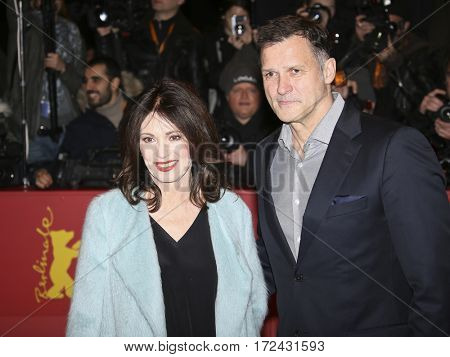 BERLIN, GERMANY - FEBRUARY 17: Heiko Kiesow and Iris Berben attend the 'Logan' premiere during the 67th Berlinale Film Festival Berlin at Berlinale Palace on February 17, 2017 in Berlin, Germany.