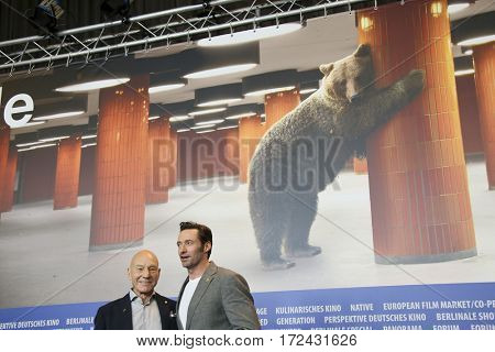 BERLIN, GERMANY - FEBRUARY 17:  Hugh Jackman, Patrick Stewart attends the 'Logan'  press conference during the 67th Berlinale Festival Berlin at  Hyatt Hotel on February 17, 2017 in Berlin, Germany.