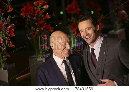 BERLIN, GERMANY - FEBRUARY 17: Hugh Jackman and Patrick Stewart attend the 'Logan' premiere during the 67th Berlinale Film Festival Berlin at Berlinale Palace on February 17, 2017 in Berlin, Germany.