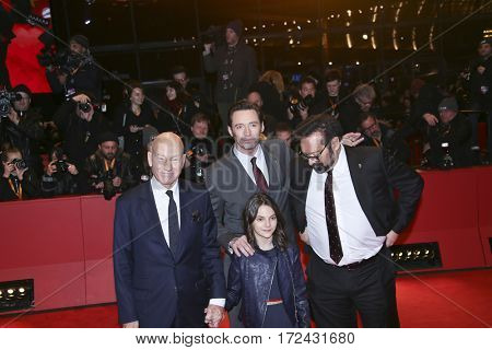 BERLIN, GERMANY - FEBRUARY 17:  James Mangold, Hugh Jackman, Patrick Stewart attend the 'Logan' premiere during the 67th Festival Berlin at Berlinale Palace on February 17, 2017 in Berlin, Germany.