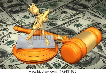The King Of America Signing Documents Law Legal Gavel Concept 3D Illustration